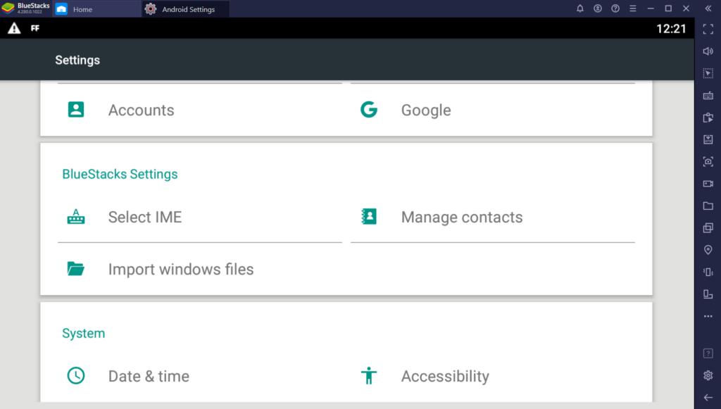 Import windows Files bluestacks 4